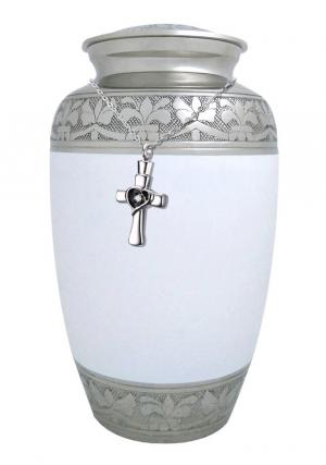 White and Silver Floral Band Nickel Adult Funeral Cremation UrnWhite and Silver Floral Band Nickel Adult Funeral Cremation Urn+ Free jewellery urn