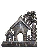 Wooden 2 Houses With Tree Design Wall Key Holder With 4 Hooks