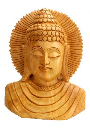 Wooden Buddha Bust Handicraft Sculpture' Home Decor