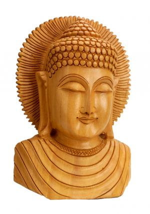 Wooden Handicraft Buddha Bust Carved  Sculpture' Home Decor