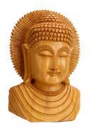 Wooden Handicraft Buddha Bust Carved  Sculpture� Home Decor