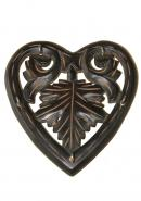 Wooden Heart Shape Wall Key Holder With 5 Hooks