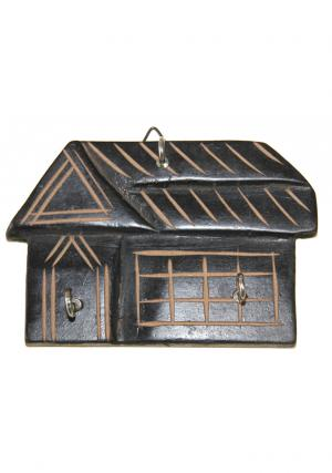 Wooden House Wall Key Holder With 3 Hooks
