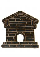 Wooden Rectangle House Wall Key Holder With 4 Hooks
