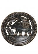 Wooden Round Elephant Shape Wall Key Holder With 6 Hooks